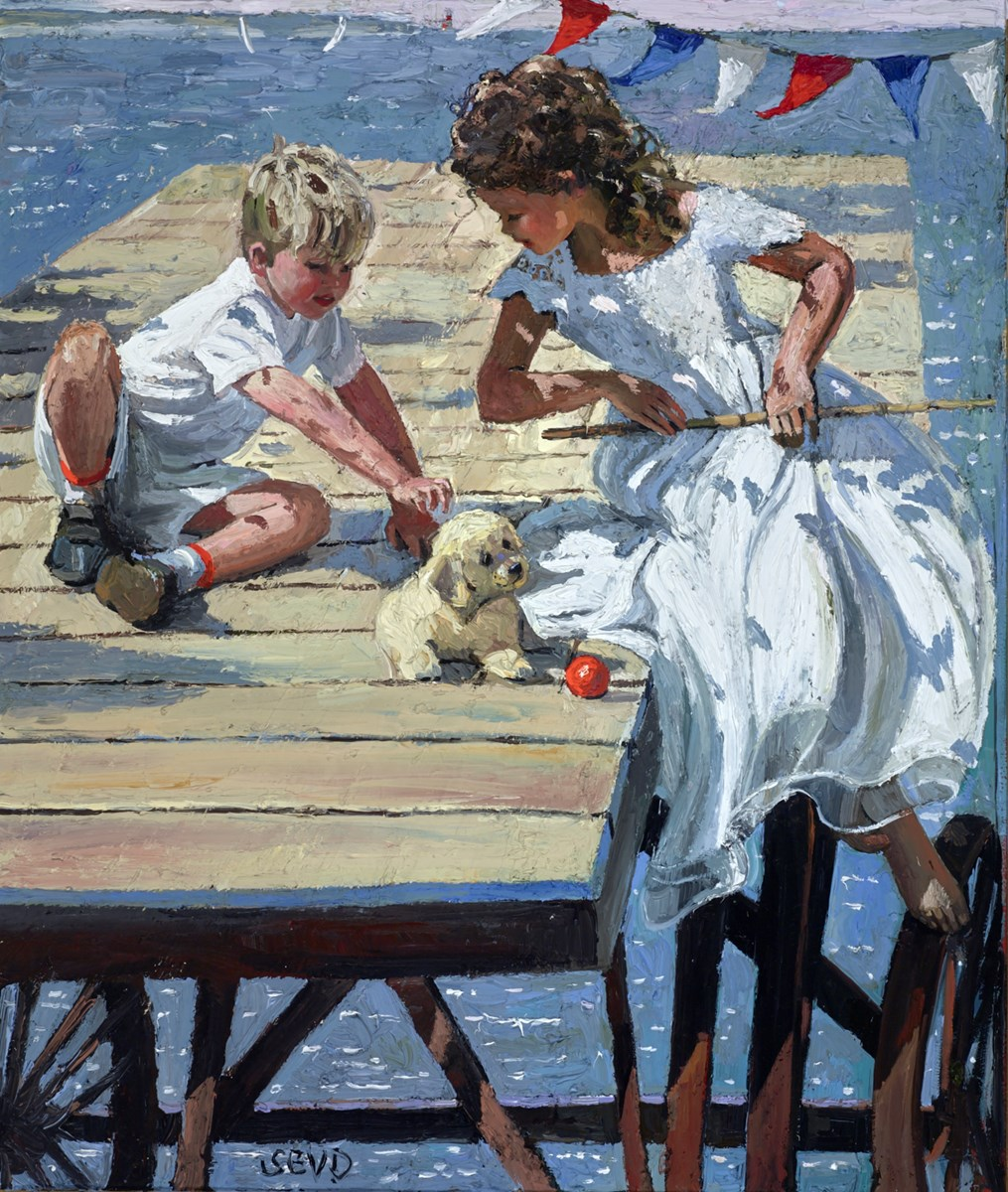 Playing on the Jetty by sherree valentine daines -  sized 22x26 inches. Available from Whitewall Galleries
